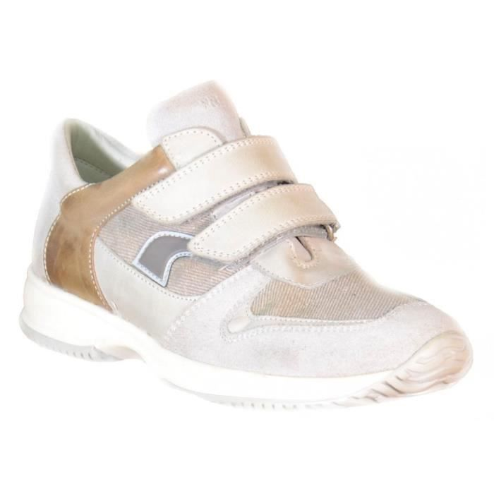 Primigi - Primigi Chaussures pour Garçon Beige Cuir Toile Velcro 82771 F5aw3vIW