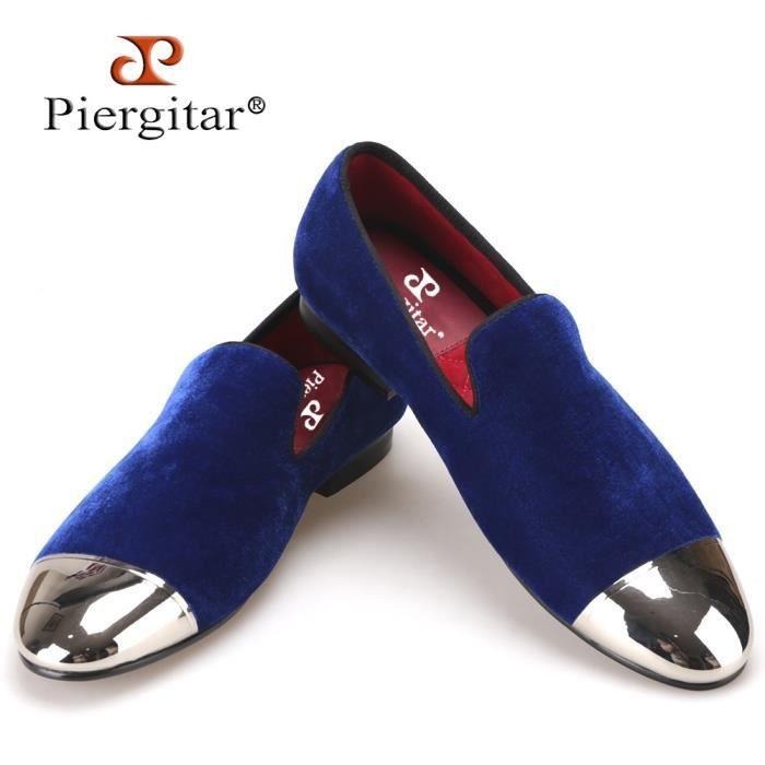 Noir et Blue Velvet Hommes Chaussures d'or et Sliver Toe métal Mode de bal et banquet hommes Mocassins main Homme plat