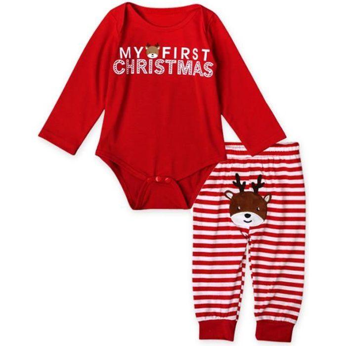 0-24 Mois Bébé Fille Garçon Pyjamas Noël 2 PCS Ensemble de Vêtement ... 57d61f8cefe