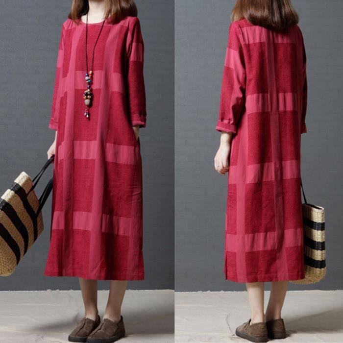 555c8c34ccc Robe longue en coton et lin à manches longues pour femmes rouge ...