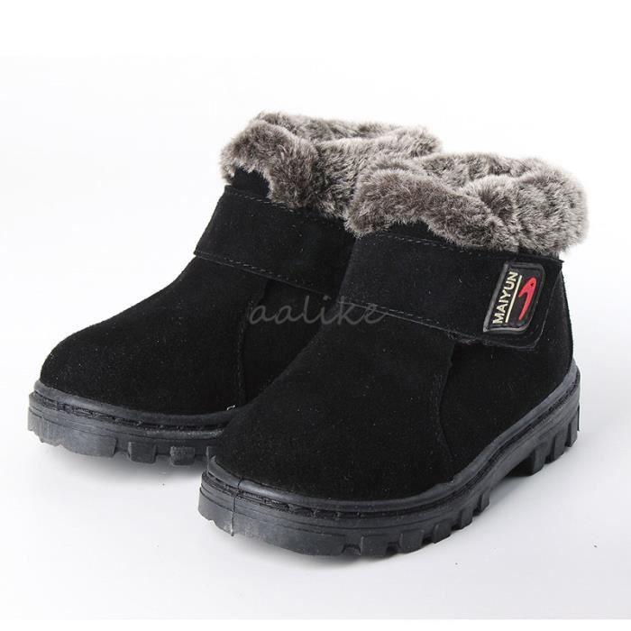 6d9c05d22bbf6 YJP Enfant Fille Garçon Bottes Bottines Chaud Neige Chaussures Fourrure  Taille 23-36