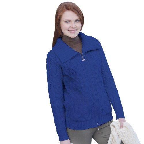Pull zippé en laine mérinos 100% irlandais pour femmes, avec poches ... 359e427ab87a