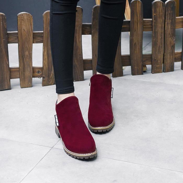 Du Chaussures Vin De Sport Pour Martin Cuir Mesdames Bottes Femmes En Mode Cheville Court OpB8q7X