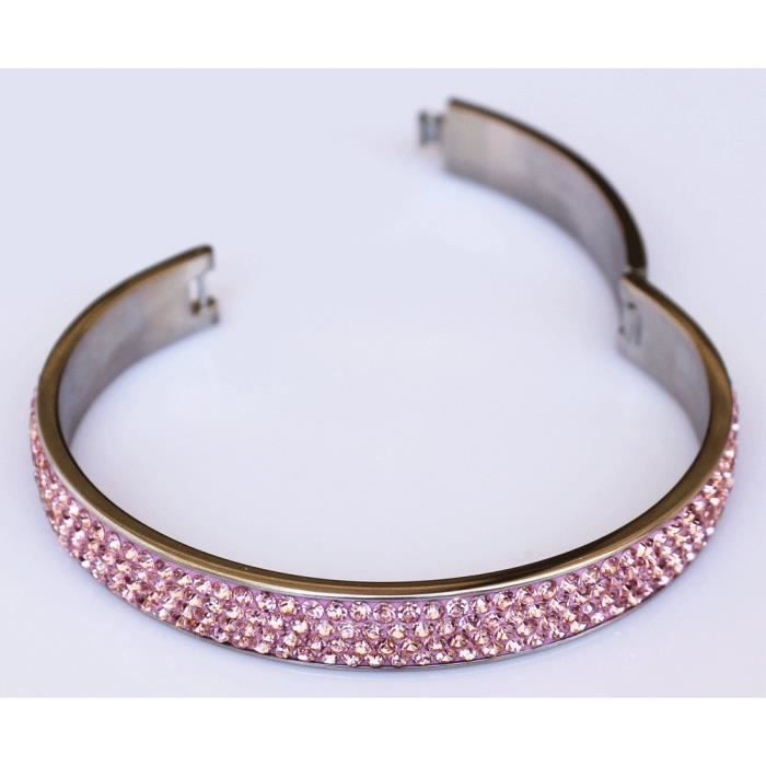 Womens Hinged Bangle Bracelet : With 4 Rows Of Beautiful Sparkly Crystal Rhinestones- 10mm In Widt QDK6A
