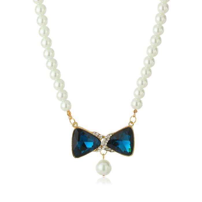 Emerald Pearl Blue Crystal Collier Bijoux Pendentif femme A5JNJ