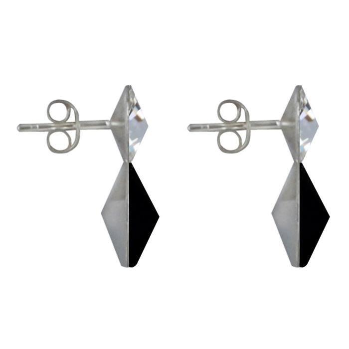 Les Poulettes Bijoux - Boucles dOreilles Argent Deux Swarovski - Noir