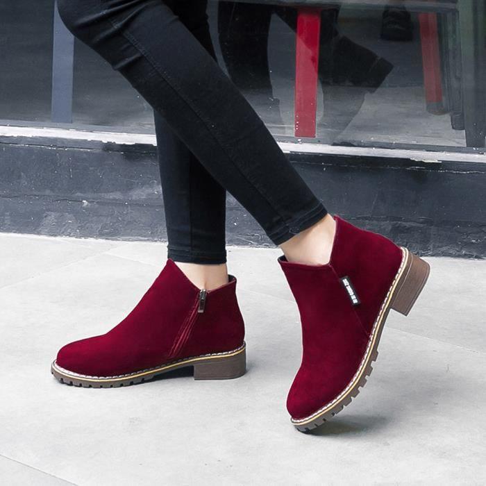 Mesdames Chaussures En Mode Sport Cheville Pour Bottes Du Femmes Cuir De Martin Vin Court xrSRYXx