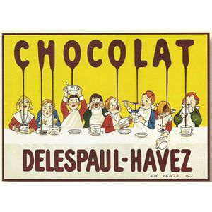 TABLEAU - TOILE PLAQUE METAL 40X30 PUB CHOCOLAT DELESPAUL HAVEZ