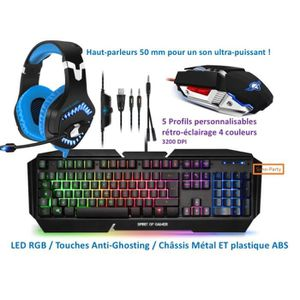 PACK CLAVIER - SOURIS PACK GAMER CLAVIER LED RGB CHASSIS MÉTAL / ABS / A