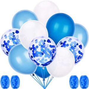 BALLON DÉCORATIF  50 Pièces Ballons Confettis Bleu et Blanc Latex Ba