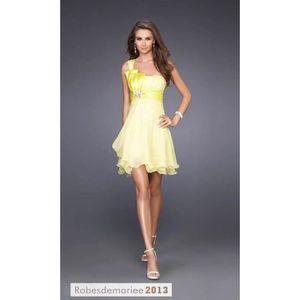 Robe de cocktail courte jaune