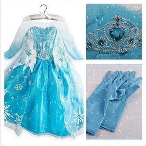 DÉGUISEMENT - PANOPLIE Robe  de princesse ELSA REINE DES avec des gants C