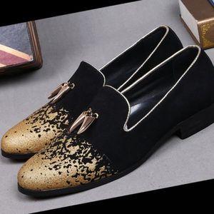 Marque Nouveau haut de gamme Or Impression Chaussure Homme Luxe Mode Hommes Mocassins Flats Men Plus Size PcnDd1