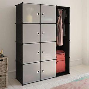 Armoire chambre blanc et noir - Achat / Vente pas cher