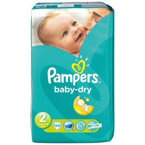 COUCHE Pack 44 couches Pampers Baby Dry 2
