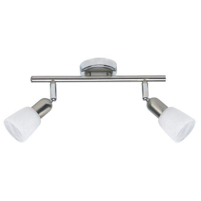 Matière : métal et verre - Type de culot : E14 - Hauteur : 10 cm - Puissance : 40W - Coloris : acier et chromeSPOTS - LIGNE DE SPOTS