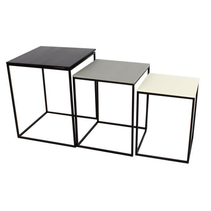 93b90e38ebcd09 BOHO Lot de 3 tables gigognes carrées - Contemporain - Placage pin noir,  gris et blanc - L 40 x l 40, L 35 x l 35 et L 30 x l 30 cm