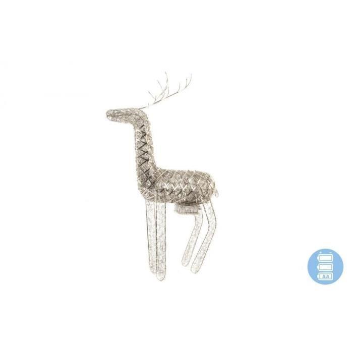 Figurine de N¼l : Renne de Noël nickelé en fer 43x7x59 cm