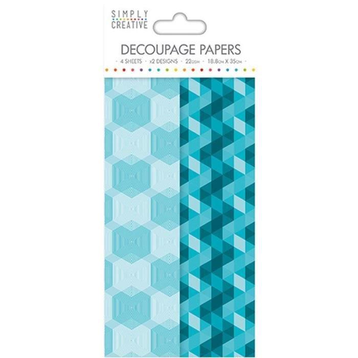 LA FOURMI Papier Découpage - Aqua Geometric - 18,8x35cm x 4fl. (2x2 modèles)