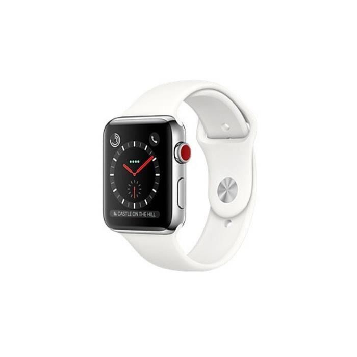 site réputé d85a7 1d7a4 APPLE Watch Series 3 GPS + Cellular - Boîtier 38 mm Acier inoxydable -  Bracelet Sport Blanc clair