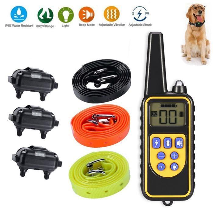 Collier De Dressage Chien, Arrêt Étanche Rechargeable Stop Barking Control 1 Télécommande 3 Et Chi