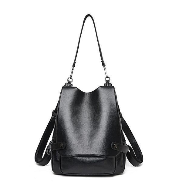 SBBKO4852Ekphero Multifunction PU Leather Femmes Handbags Vintage Sacs bandoulière Travel Backpack Noir