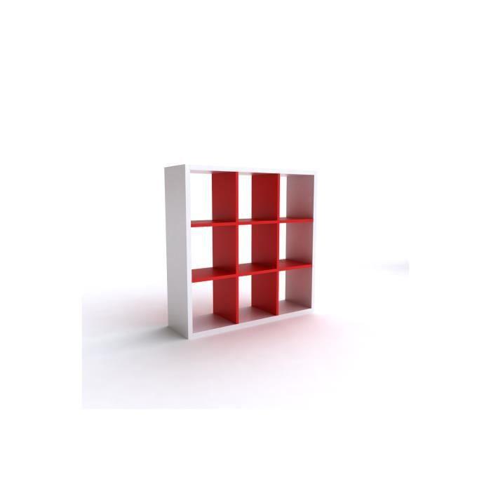 meuble tagre etagre blanc rouge 9 cases ep 30mm