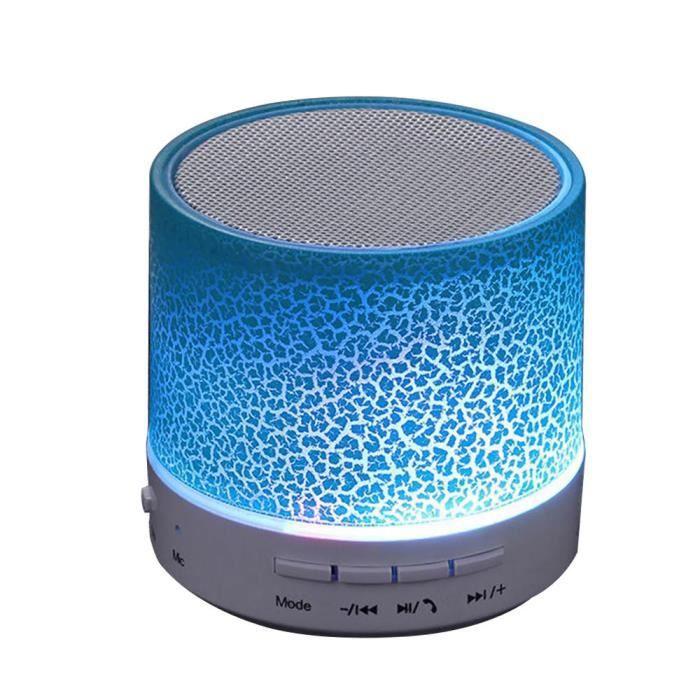 Led Portable Stéréo Mini Boîte De Haut-parleur Bluetooth Sans Fils Supportant Sd Card Bleu