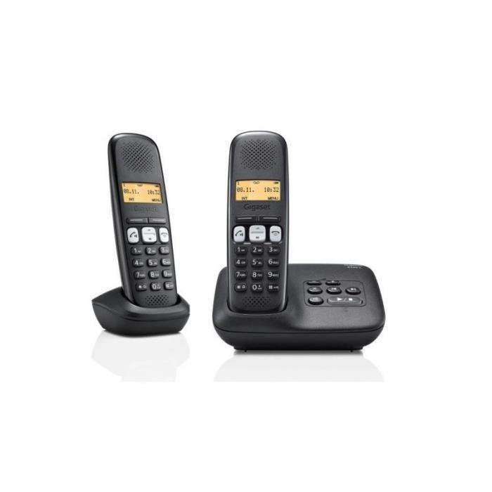87cc0c9885fdde Téléphone sans fil avec répondeur - Siemens Gigaset - A250A Duo Noir - Vos  Marques Tendances