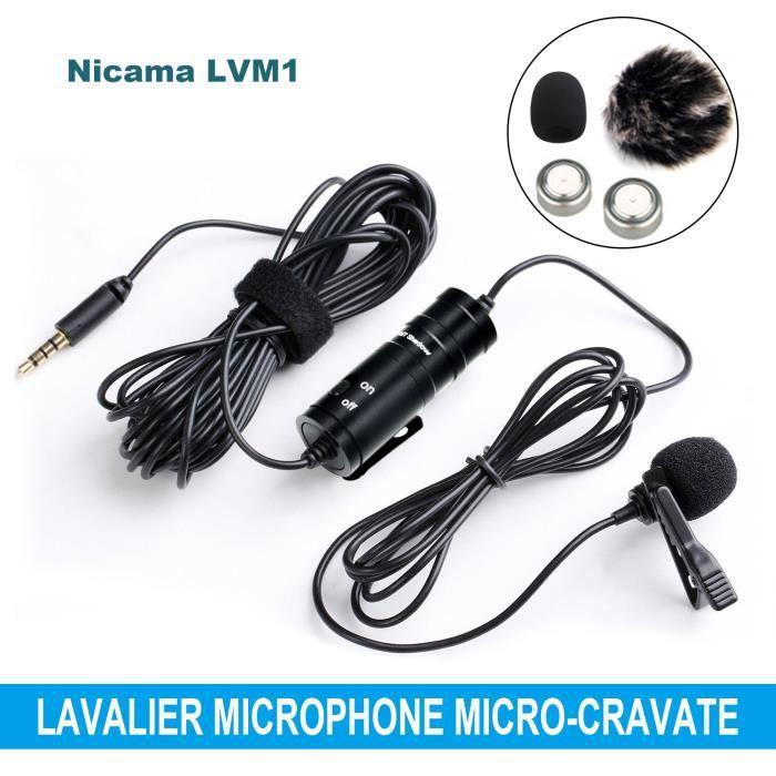 produits de commodité rechercher l'original grande qualité Nicama LVM1 Lavalier Microphone Micro-cravate omnidirectionnel universel  pour smartphones,DSLR,caméscopes,enregistreurs Audio,PC