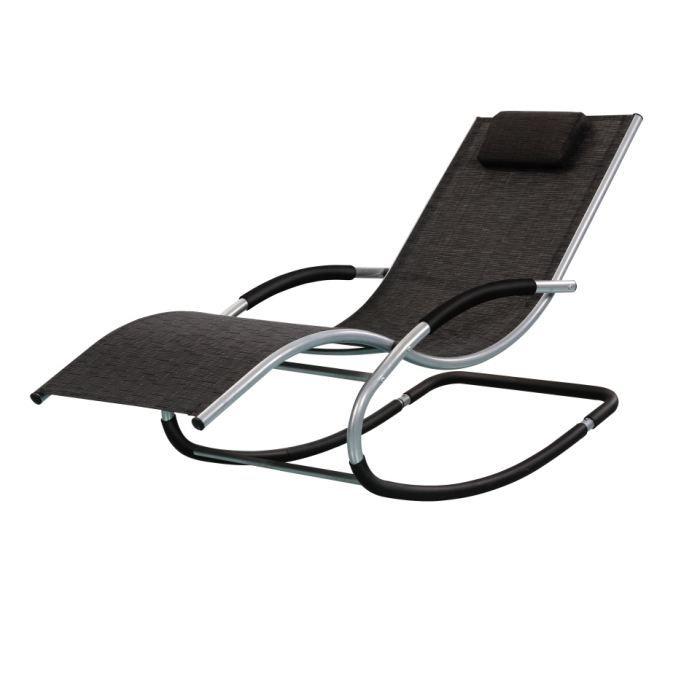 Transat riverside a bascule NOIR - Achat / Vente chaise longue ...