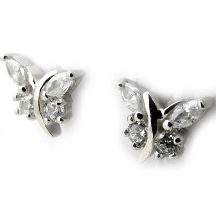 Les Trésors De Lily [N1237] - Boucles Argent Papillons de Charme