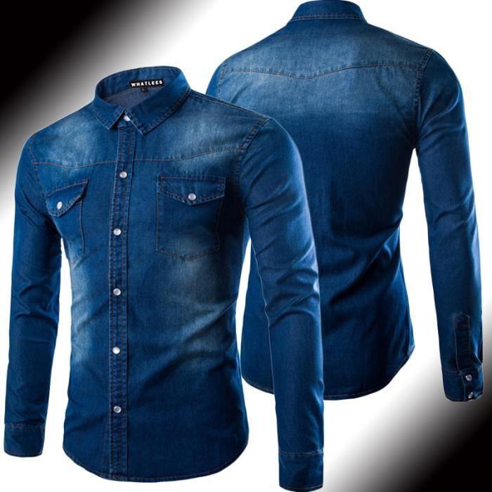 chemises en jeans homme noir marque slim manches longue. Black Bedroom Furniture Sets. Home Design Ideas