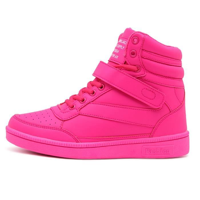 Compensées Basket Femme Rose Montante Sport Chaussures Sneakers YWeD29EHI