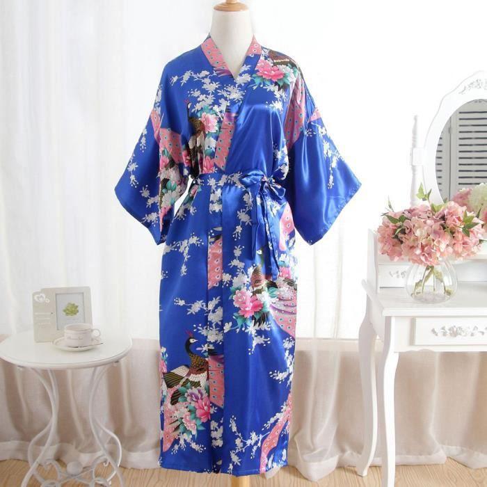 1ed3153b658d7 Femmes Imprimer Sexy Fleur Kimono Robe de chambre de bain Robe Lingerie  Chemise de nuit