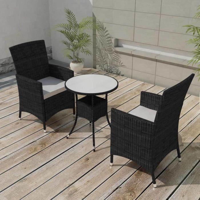5 pcs Mobilier de jardin Noir Résine tressée Salon de jardin Jeu de canapé  Ensembles de meubles