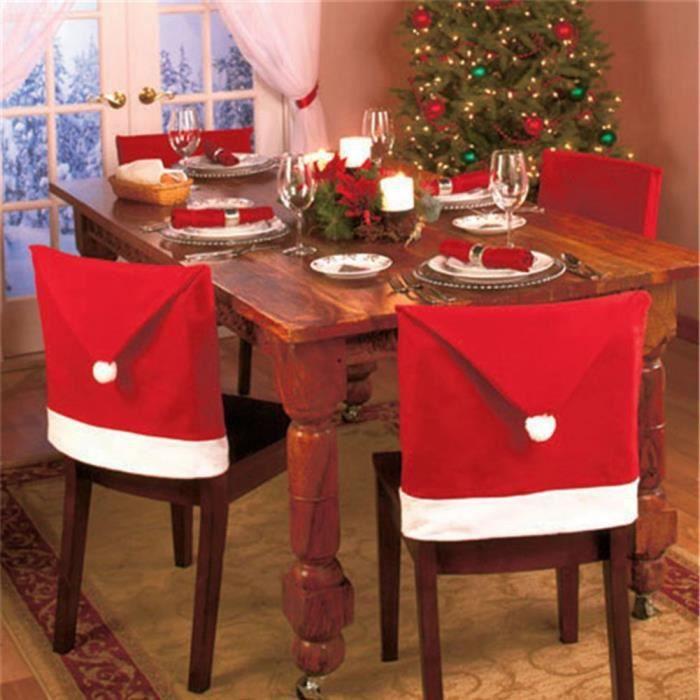 Housse Dossier Chaise Forme Chapeau Pere Noel X 6 Decoration De