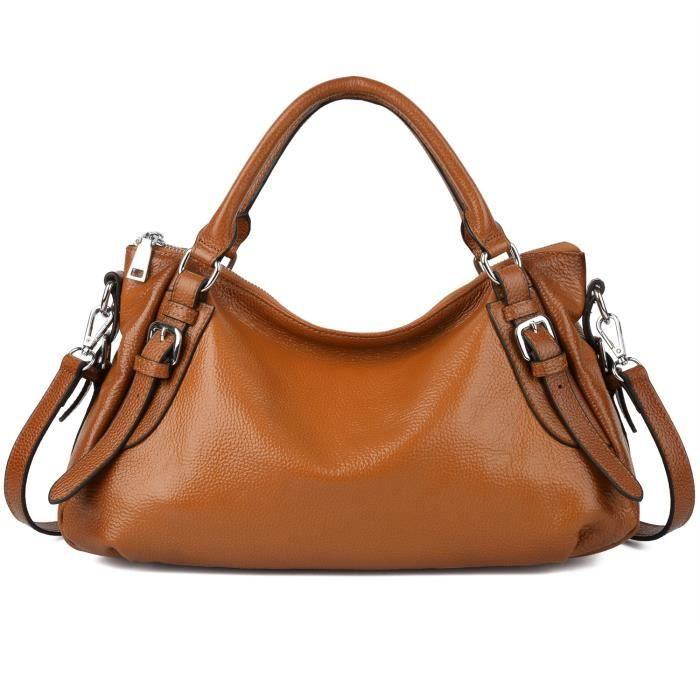 Yaluxe Hobo Handy doux cuir véritable style sac à main (mis à jour 2.0) E2HJS