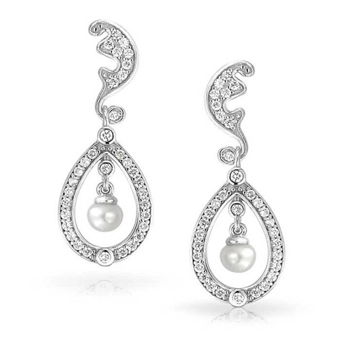 Kate Middleton Inspiré Nuptiale Royale Bouton Pearl Boucles Pendent