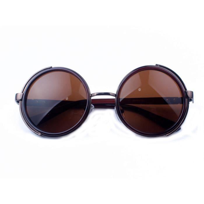 Retro Eyewear Lunette À L'Amande Lunettes De Soleil Colorées Lentille Grise Noire Brillante 23TLmSuV