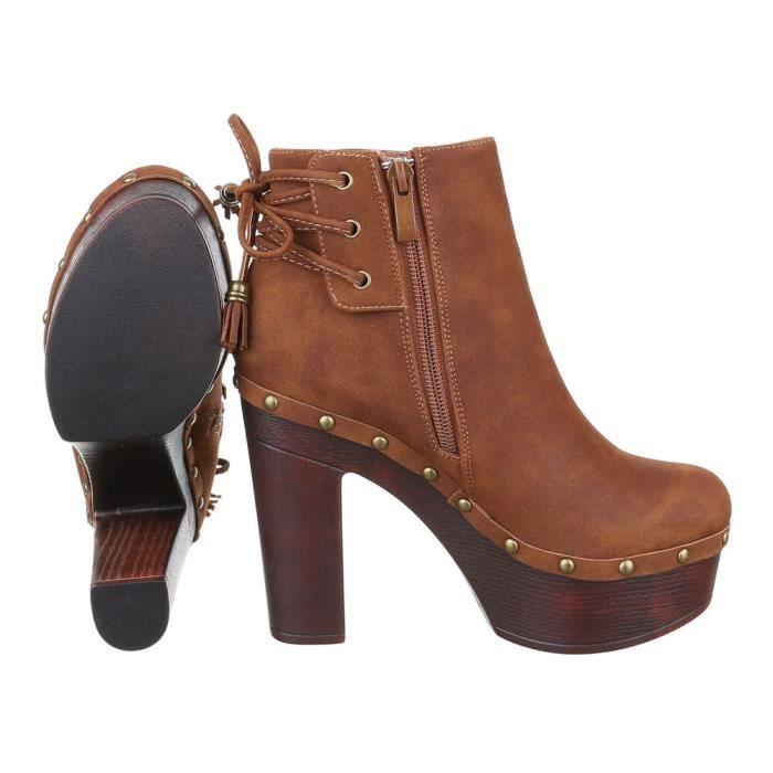femme bottine chaussure High Heels Plateau Boots