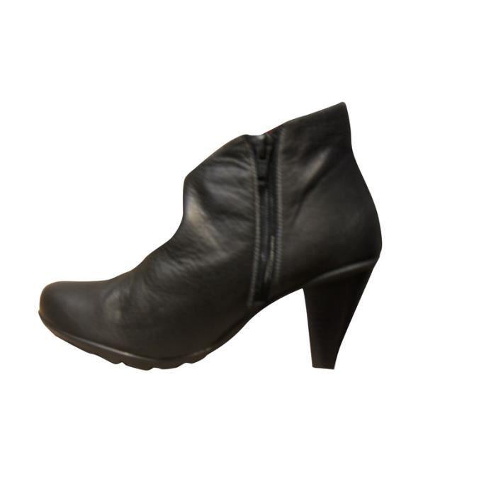 Low boots femme cuir GREG H noirs original/mode