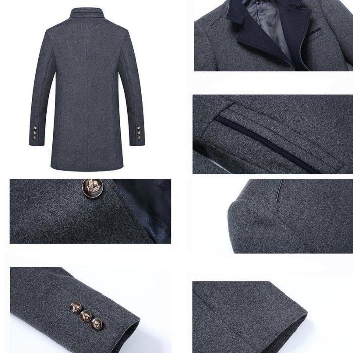 Laine mode En Automne Hugo Mi De Manteau Simple Caban Boutonnage Homme Pardessus Boutique Vêtements longue Zg0qnw
