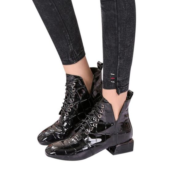 size 40 e5400 1bf34 ... Oppapps12523 Place Patent Shoes Bottes Round Cuir En Talon Toe Martin  Respirant Femmes AOqrnxA8w ...