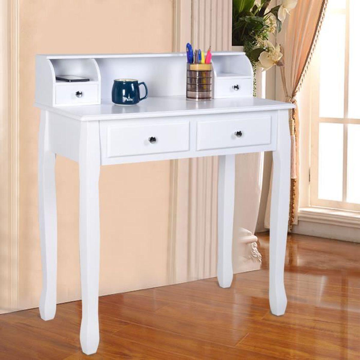 Coiffeuse table de maquillage table de bureau blanche avec 4