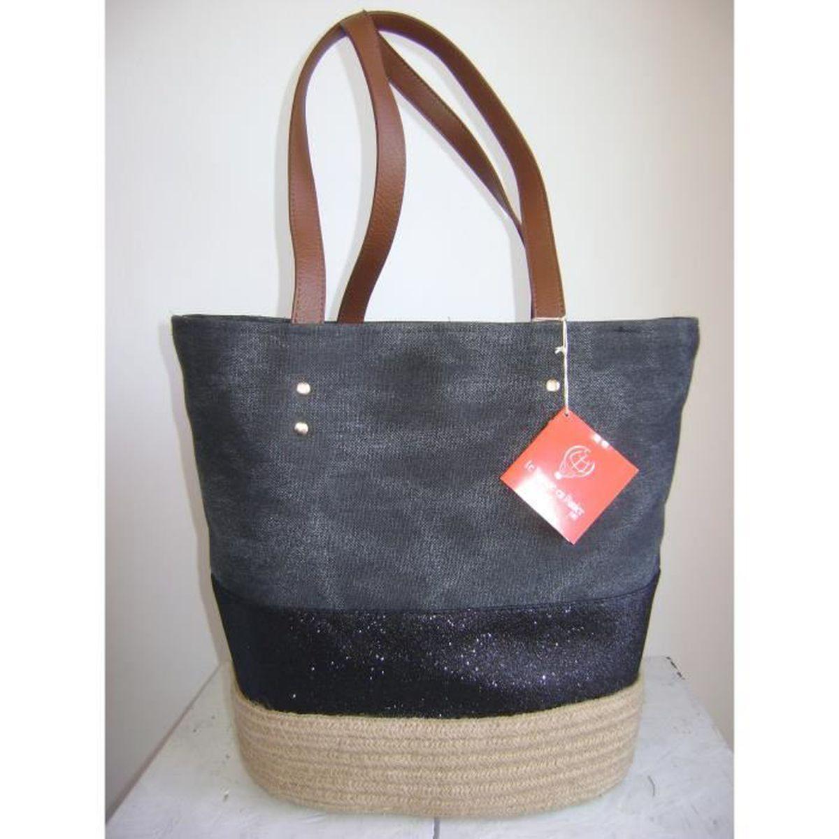 sac cabas le voyage en panier toile vintage corde noir achat vente sac cabas le voyage en. Black Bedroom Furniture Sets. Home Design Ideas