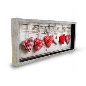 TABLEAU - TOILE COEURS Tableau déco cadre vitrine 20x50 - Cœurs