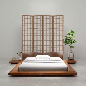STRUCTURE DE LIT HWA 1,4x2m Cadre de lit Futon Style japonais Bois