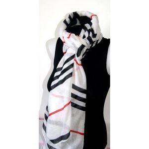 50892bc7ff9c ECHARPE - FOULARD grande ECHARPE foulard blanc tartan rayé HOMME FEM