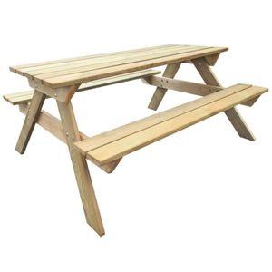 SALON DE JARDIN  P132 Table de pique-nique en bois 150 x 135 x 71,5